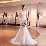 MO.CL Hochzeitskleid Lace Dew Schulter mit Ärmel Fischschwanz Brautkleid,M