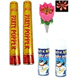 Samdivi Musical Birthday Candle, Party Popper (Pack Of 2), Snow Spray (Pack Of 2).