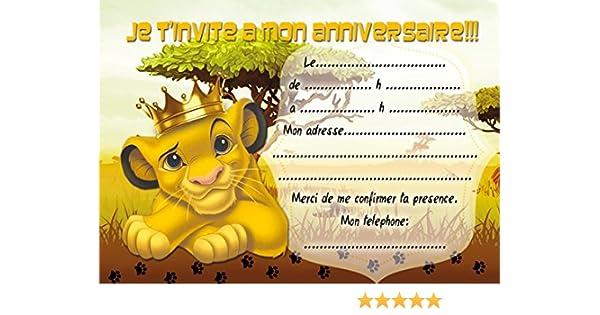 10 Cartes Invitation Anniversaire Le Roi Lion The Lion King