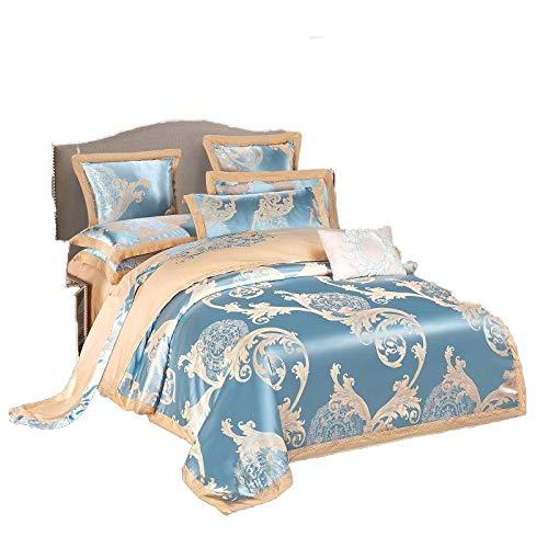 FZKJJXJL 4 Stück Satin Bestickte Bettwäsche-Sets Kingsize-Bett Bettbezug Spannbetttuch Kissenbezüge Set by,Beige-200X230CM - Kingsize-bettbezug-bett