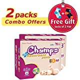 Champs High Absorbent Premium Pant Style Diaper (Pack Of 2)(Free 2-Pair Socks)| Premium Pant Diapers | Premium Diapers | Premium Baby Diapers | Anti-rash And Anti-bacterial Diaper | (Small, 60)