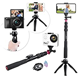 Selfie Stick Treppiede, Andoer Wireless Selfie Accessori Kit per IPhone X / 8/7 Plus per Samsung S8 per GoPro Hero 6/5/4/3 + / 3 Videocamera per Videocamera Digitale Video Picture con Mini Tripod + Treppiede per Telefono + Telecomando