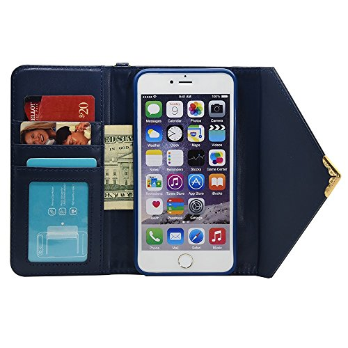 Wkae Case Cover Case Color Solid V Fermeture style Enveloppe Motif étui en cuir PU Case Wallet Cover avec Dragonne pour Apple iPhone 6s Plus (5,5 pouces) ( Color : Black , Size : IPhone 6s Plus ) Blue