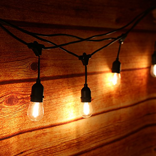 Tomshine 15m E27 Lichterkette Set mit 15 E27 Fassungen,IP65 Wasserdicht für Außen/Innen,led retro lampe,Dekolampe für Haus Dekoration, Garten, Party, Hochzeit, Grill, Weihnachten, Feier, Festakt
