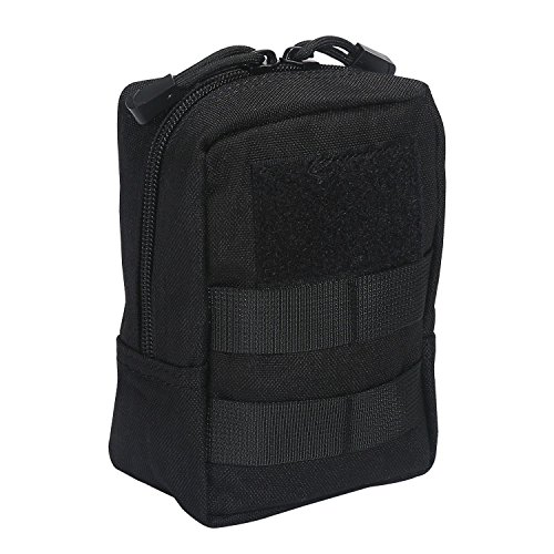 Aolvo Molle-Tasche, 1000d Nylon, wasserdicht EDC-Gang Multicam Taille Tasche, Mini-Gadget, Tasche für Wandern, Angeln, Bergsteigen, Camping, Outdoor, Sport, Schwarz