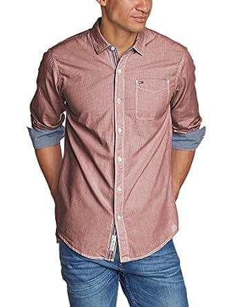 Hilfiger Denim Herren Slim Fit Freizeithemd Ottley shirt l/s, Gr. X-Large, Rot (RHUBARB-PT 615)
