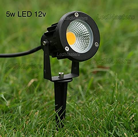 12v LED Outdoor Spot Light 5w COB Warm White Cold White Garden Light Ground Spike and Wall Mounting Bracket IP65 (Cold White 6000-6500k) Low
