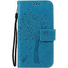 Guran® Funda de Cuero Para Motorola Moto G (2nda Generación) Smartphone Función de Soporte con Ranura para Tarjetas Flip Case Cover-azul