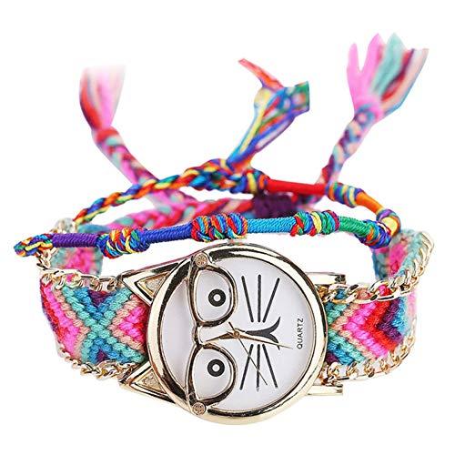 FDIJM Frauen Handgemachte Damen Vintage Brille Katze Freundschaft Vogue Armbanduhren , D