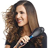 QERINKLE® Hair Electric Comb Brush 3 in 1 Ceramic Fast Hair Straightener For Women's Hair Straightening Brush with LCD Screen, Temperature Control Display,Hair Straightener For Women (BLACK)
