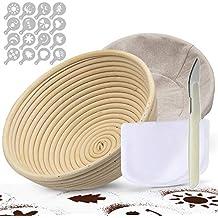 TGetWorth Banneton Pruebas Cesta 25 cm, banneton para Pan Incluye raspador de tazón, Funda