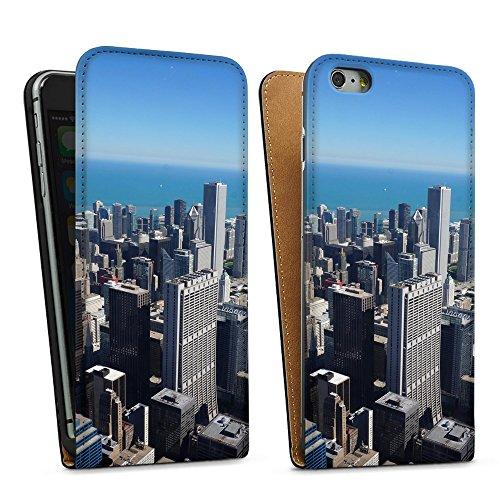 """artboxONE Handyhülle Apple iPhone SE, weiß Silikon-Case Handyhülle """"Chicago Sonne Case"""" - Reise - Smartphone Case mit Kunstdruck hochwertiges Handycover von Bjoern Prickartz Downflip Case schwarz"""