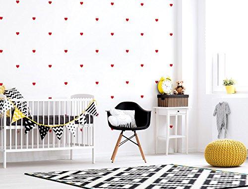 I-love-Wandtattooo WAS-10130 - Set di adesivi da parete per camera bambino, cuori in rosso, 60 pezzi - Camera Pezzi