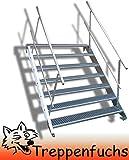 7 Stufen Stahltreppe mit beidseitigem Geländer / Breite 100 cm Geschosshöhe 100-140cm / Robuste Außentreppe / Wangentreppe / Stabile Industrietreppe für den Außenbereich / Inklusive Zubehör