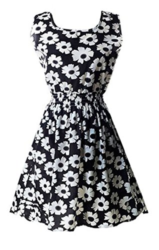 DELEY Femmes Filles D'Été Vintage Sans Manches Imprimé Floral De Parti De Plage Casual Mini Robe Noir