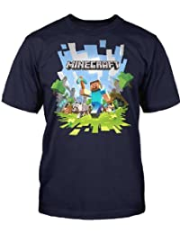 Minecraft grande aventure T-shirt bleu foncé imprimé sur le devant pour les fans de jeux