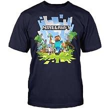 Minecraft - camiseta de minero - videojuego retro de aventuras - algodón - azul marino