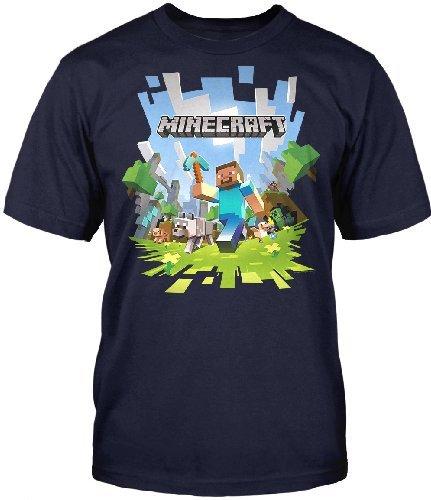 Minecraft-Adventure-Herren-T Shirt-Blau,Grösse Large