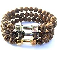 GOOD.designs Bracciale in vera Naturale-pietre legno, Manubri-ciondolo, gym- bodybuilding- fitness- motivazione- braccialetti (Oro)