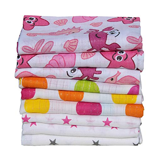 Clevere Kids Mulltücher | 9er-Pack | bedruckt | OEKO-TEX zertifiziert | doppelt gewebt | 70x80 | Spucktücher (Mädchen)