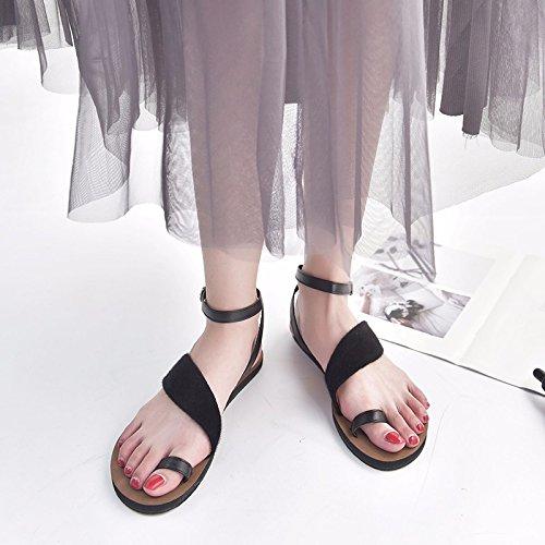 Xsj Mode Schnallenriemen Damenschuhe Sommer Sandalen Gladiator Verzierte Flache Frauen Schuhe Frau Sandalen,Black,36