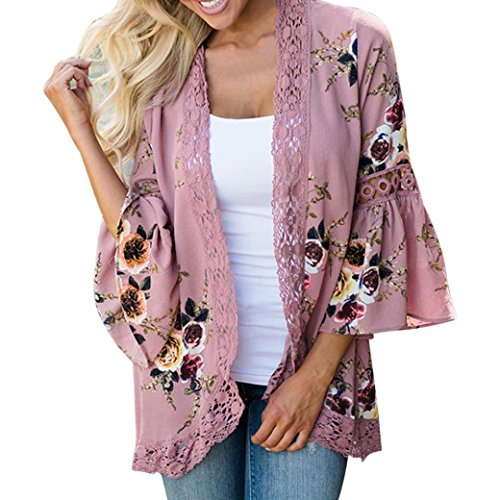 FNKDOR Spring Fashion Women Lace Floral Open Cape Casual Coat Loose Blouse Kimono Jacket Cardigan Tops