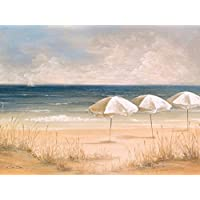 Atlantic Umbrellas - Fine Art Print on Fine Art Canvas - Print ON Canvas ONLY -NO Frame - Image Size is 29 x 22 Inch Wall Painting