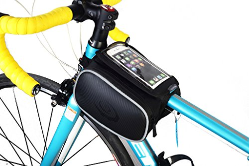lohai Radfahren | ROSWHEEL Rahmen Tasche, Head Tube Tasche, Top Tube Phone Bag für iPhone 6S, Samsung Galaxy Note 4/3/2, LG G3/G2/G1, Sony Xperia Z3/Z2/Z1, HTC One und andere Handy bis 14,5 cm – L, 5,2 ~ 14,5 cm