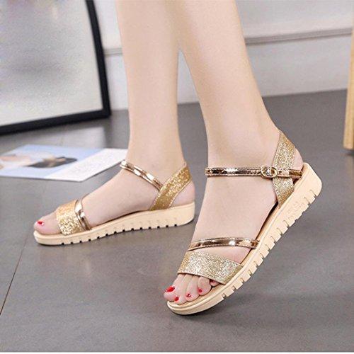 Damen Schuhe,Sannysis Frauen Sandalen Plattform Schuhe flache Schuhe Gold