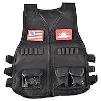 LoKauf Kids Soft Bullet Vest Waistcoat with Badge for Nerf Toy Gun - Black