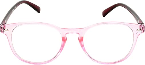 Round Spectacle Frame For Girls|Ladies|Women.Pink&Transparent Frame.