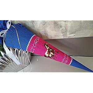 #49 Pferd Pferde blau pink Schultüte Stoff + Papprohling + als Kissen verwendbar
