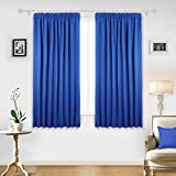 "Deconovo Rod Pocket Super Soft Ready Made Solid Thermal Insulated Blackout Curtain Drape for Bedroom with Two Tie Backs, 46""x54"" Drop(117x138cm), 1 Pair, Blue"