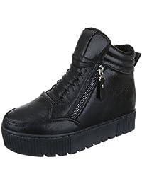 online retailer 0b4e3 35b66 Ital-Design High-Top Sneaker Damenschuhe High-Top KeilabsatzWedge  Keilabsatz Reißverschluss