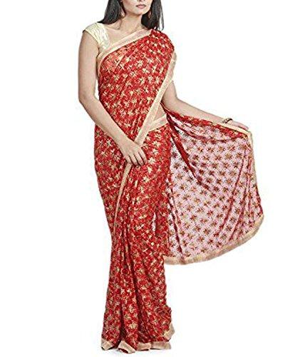 RedBirdFashion Women's Chiffon Saree (Rbf-Stl-02_Red)