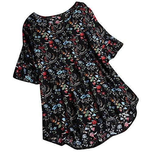 Womens Casual Plus Size Lose Leinen Ärmel Print Button Tanic Shirt Bluse 1985 Lässiges Spitzentop Aus Baumwolle Und Leinen