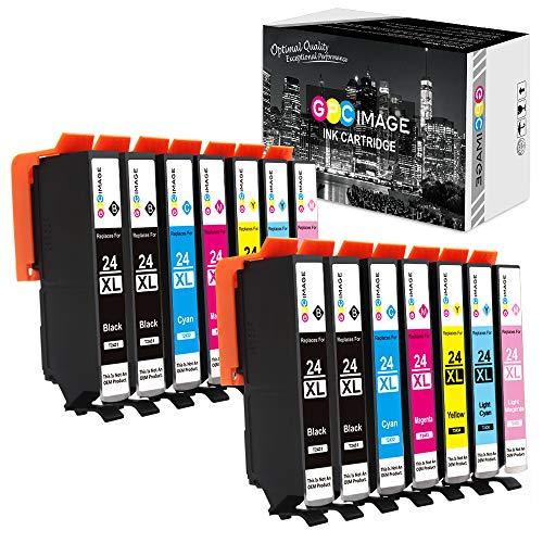 GPC Image 24XL Kompatibel Druckerpatronen Ersatz für Epson 24 XL für Expression Photo XP-55 XP-750 XP-760 XP-850 XP-860 XP-950 XP-960 Drucker (4 Schwarz/2 Cyan/2 Magenta/2 Gelb/2 LC/2 LM, 14-Pack) -