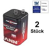 Blockbatterie, Laternenbatterie Typ 4R25 (Set mit 2 Stück) 7-9 AH, 6 Volt für Warnleuchten, Baustellenlaternen, Baustellenlampen