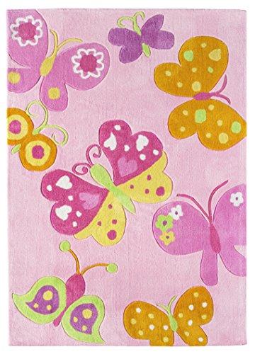andiamo Kinderteppich Schmetterling, Spielteppich für das Kinderzimmer, 160 x 230 cm in rosa