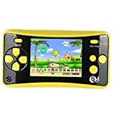 "QINGSHE QS-4 Handheld Game Console for Kids,Portable Arcade Entertainment Gaming System Retro FC Video Game Player 2.5"" LCD Built-in 182 Classic Games,Birthday Present for Children(Yellow)"