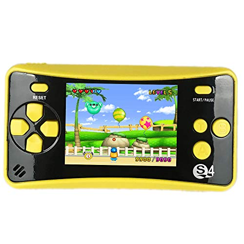 QINGSHE QS-4 Handheld Game Console for Kids,Portable Arcade Entertainment Gaming System Retro FC Video Game Player 2.5' LCD Built-in 182 Classic Games,Birthday Present for Children(Yellow)