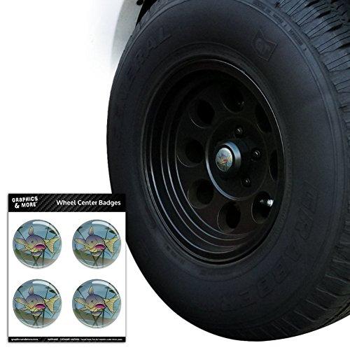 Wels Schwimmen in Wasser, Tire Wheel Zentrum Cap resin-topped Abzeichen Aufkleber–6,6cm (6.6cm) Durchmesser (Fluss Angeln Schwimmen,)