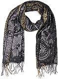 styleBREAKER edler Schal mit Blumen, Paisley, Ornament Muster und Fransen, Damen 01018095, Farbe:Schwarz-Beige