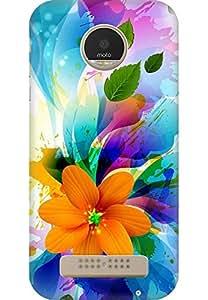 AMEZ designer printed 3d premium high quality back case cover for Motorola Moto Z Play (floral white)