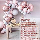 Ballonboog Macaron ballonnen Arch Kit Pastel grijs roze ballon Garland Rose Gold Confetti Wedding Party Decor Baby douche benodigdheden, set 1