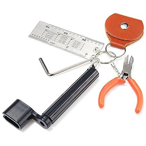 kenthia 5in 1Gitarre Tools Set String Zange Peg Abzieher Pick Bag Sechseck Schlüssel String Action Lineal
