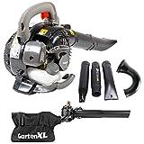 GartenXL EBV260A Laubsauger und Bläser mit Häcksler und 40 Liter Fangsack - Antivibrationssystem - Einstellbare Blasgeschwindigkeit bis 50 m/s - 2-Takt-Motor mit 26ccm und 1 PS