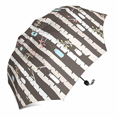 (InterestPrint Vector Birke Oder Aspen Trees mit Aufhängern Mason Jar Lichter und Love Birds Faltbar Tragbar Outdoor Reise Kompakt Regenschirm (109,2cm))