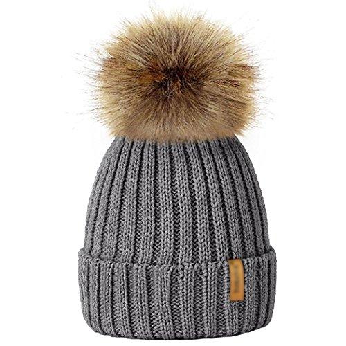 mioim Baby kinder Mädchen Jungen Strickmütz Mütze Bommelmütze Winter-Mütze Winter Warm Ski Hüte Beanie mit Fellbommel Grau Beanie Winter Ski Hut