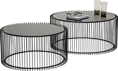 Kare 79577 Couchtisch Wire Black 2er Set, Schwarz, runder, moderner Glastisch, großer Beistelltisch, Kaffeetisch, Nachttisch, (H/B/T) 30,5xØ60cm & 33,5xØ69,5cm
